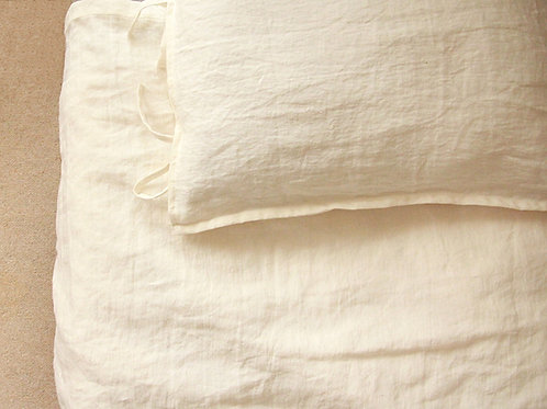 Off white linen pillow case with ties