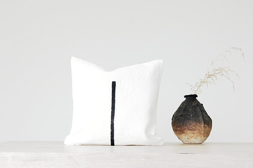 wabi sabi decorative pillow and handmade ceramics