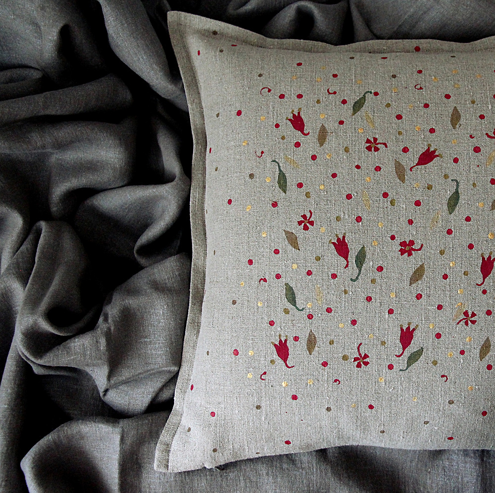 Beautiful linen pillow for Scandinavian interior