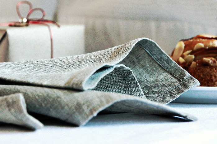 Natural linen napkins for Christmas table decor