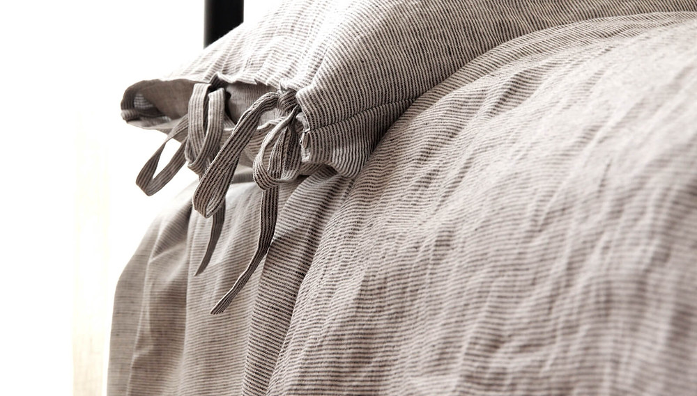 Gray striped washed linen bedding