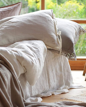 Modern linen bedding white natural Linen