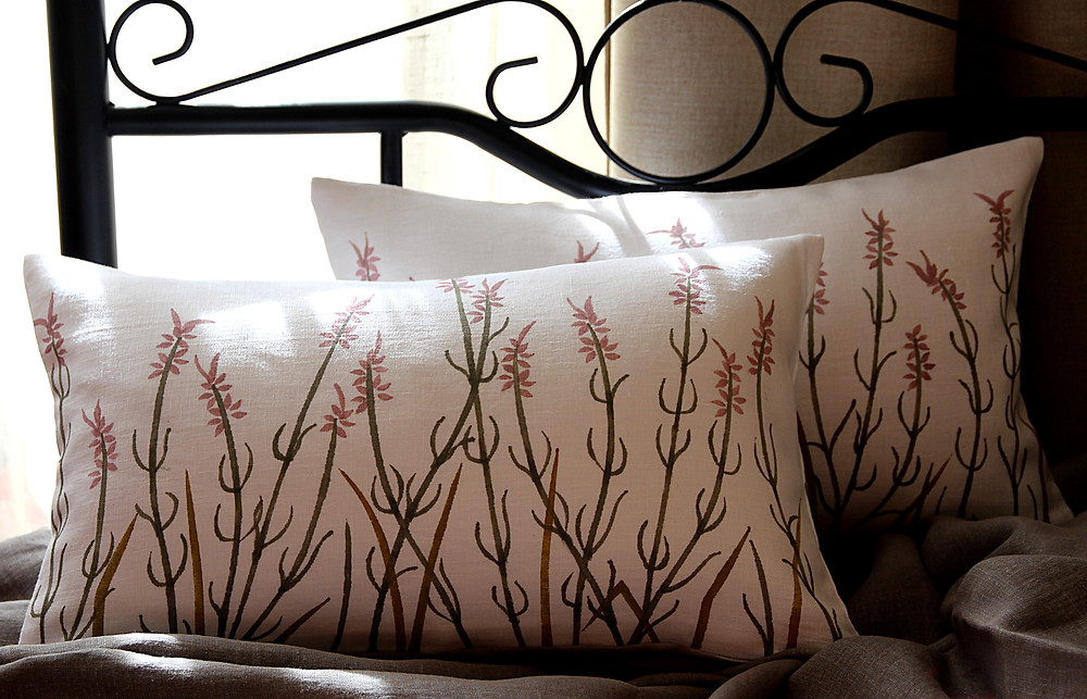 Linen pillowcases with handpainted French lavender