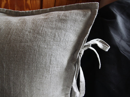 Natural linen pillow case with ties