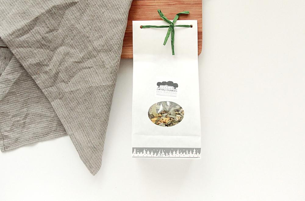 organic herbal tea and grey linen napkin