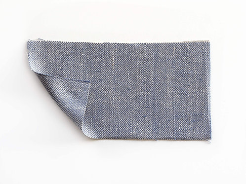 blue and natural linen fabric
