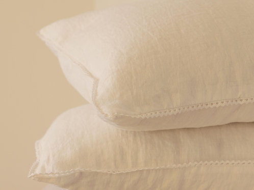 Soft white elegant linen pillow case with lace