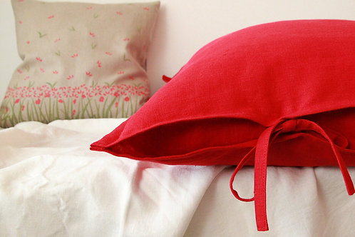 Red linen euro pillow sham