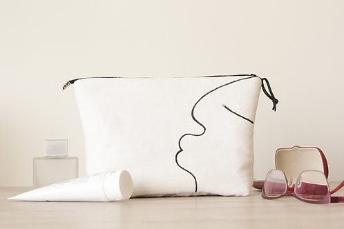 White cosmetic bag with black one line drawing