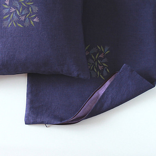 Purple blue linen pillow cover with florals