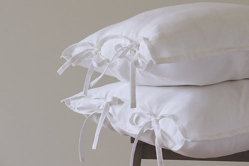 Beautiful snow white linen shams with ties (a set of 2)