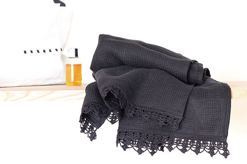 Luxurious pure linen guest towel with hand crochet linen lace
