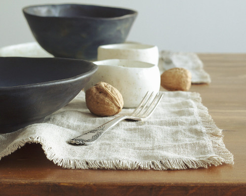 Rustic Linen Burlap Placemats With Modern Tableware On Rustic Table ...