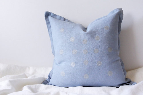 Pale blue & silver throw pillow cover