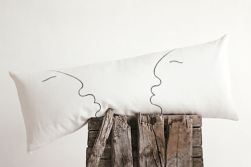 Modern long black and white lumbar pillow with one line drawing