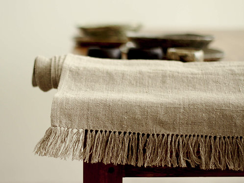 Natural linen table runners