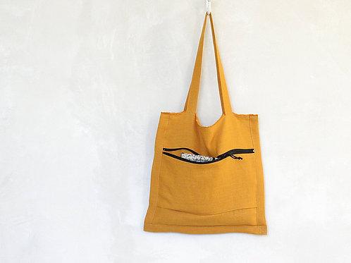 Mustard yellow linen tote bag