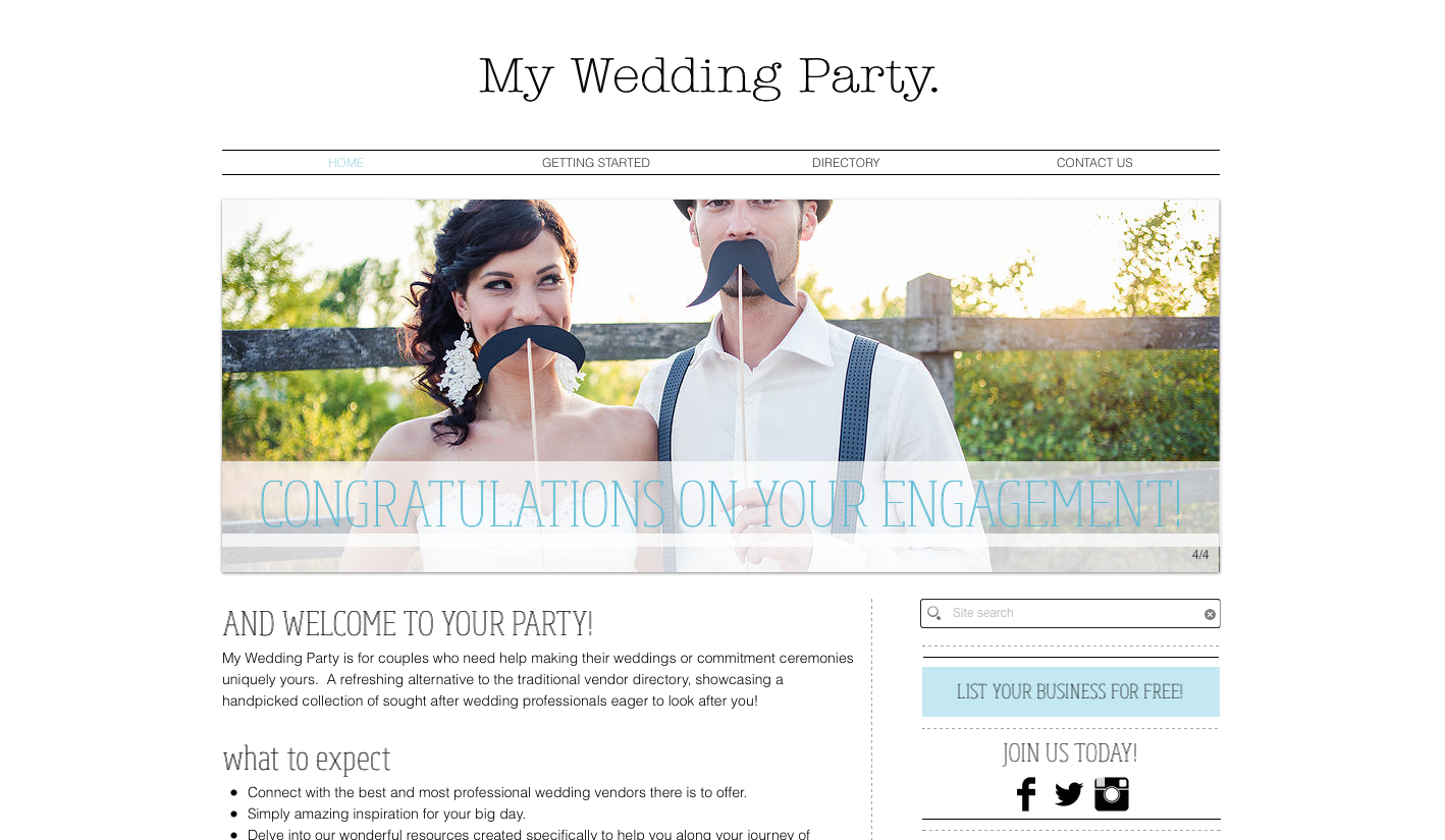 My Wedding Party Homepage