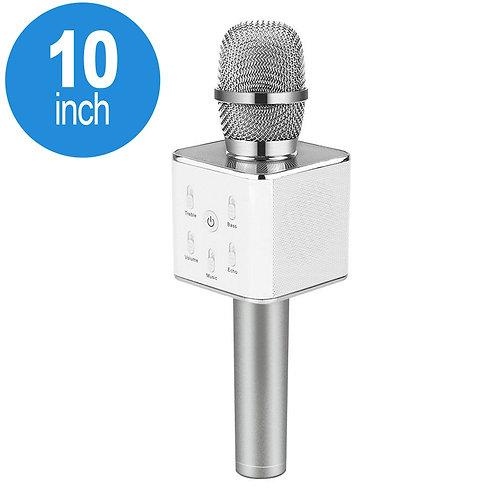 Karaoke Microphone Portable Handheld Bluetooth Speaker KTV (Silver)