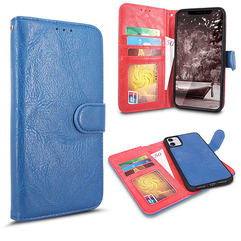 Apple iPhone 11 Pu Leather Wallet Back Magnetic Detachable Case