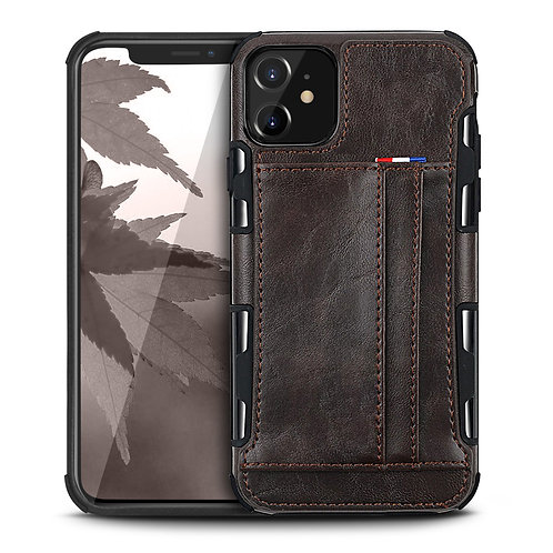 Apple iPhone 11 Durable Shockproof Soft TPU Case Back Leather Card Holder Wallet