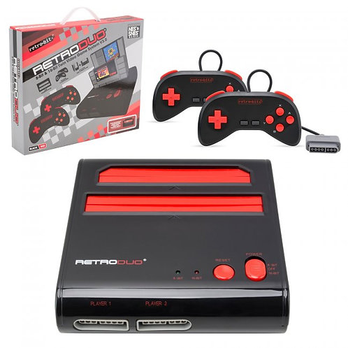1RetroDuo SNES & NES Dual 2in1 System Red-Black