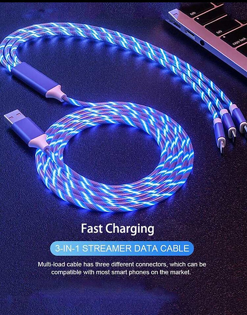3 in 1 LED Luminous Running Light High Speed Charger Cable