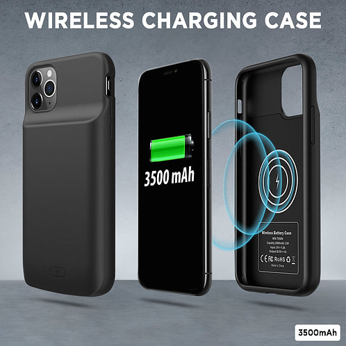 iPhone 11 Pro Max 3500mAh Extended Battery Case Power Bank Wireless Charger Cove