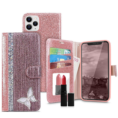 Apple iPhone 11 Pro Max Butterfly Line Diamond Shiny Sparkle Mirror Leather Wall