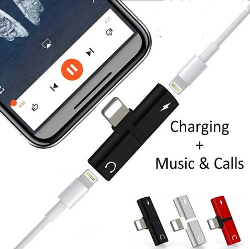 Dual 2 in 1 Audio Jack Pin for iPhone + Charge + Music & Calls