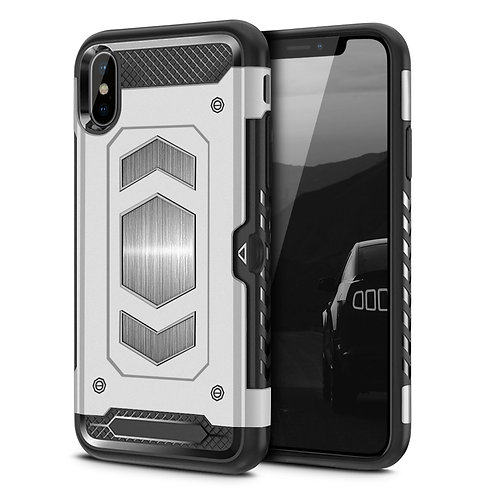 Apple iPhone XS Hybrid Armor Card Holder Shockproof Case grey