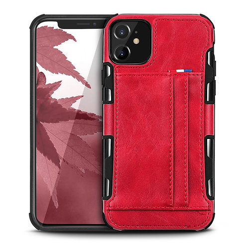 Apple iPhone 11 Durable Shockproof Soft TPU Case Back Leather Card Holder Wallet