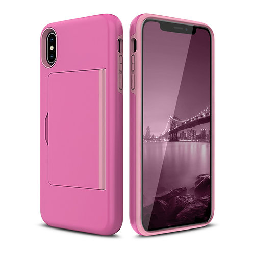Apple iPhone XS Max 2PC Hard Soft Cover Card Holder Shockproof Case