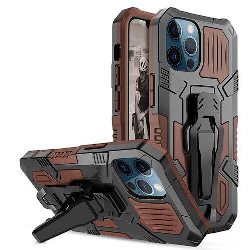 Apple iPhone 12 Pro Max (6.7 inch) Heavy Duty Armor Belt Clip Kickstand Protecti