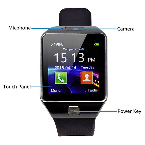 Veme Bluetooth Smart Watch with Camera for IOS and Andriod (Silver Frame/Black )