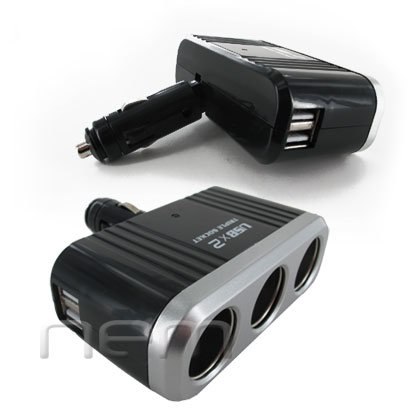 NEM Universal 3 Way Car Splitter with dual USB