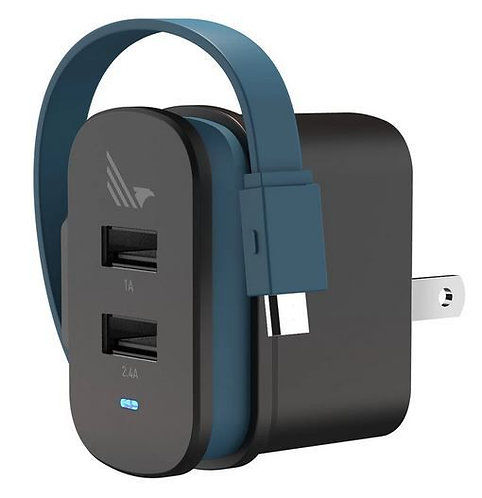 Wild Flag Dual Port Rapid Wall Charger with Built in Micro-USB Charging Cable