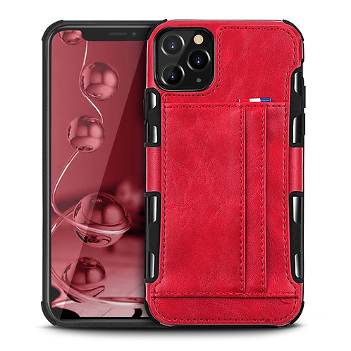 Apple iPhone 11 Pro Max Durable Shockproof Soft TPU Case Back Leather Card Holde
