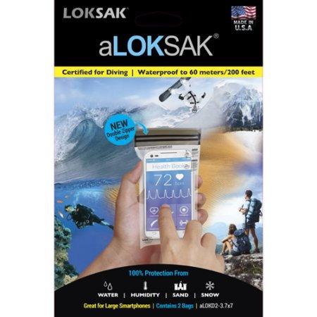 Loksak aLoksak Waterproof Re-Sealable Large Device Bags (2 Pack)