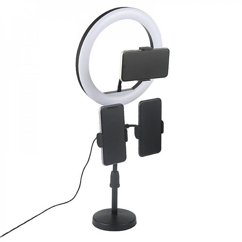 10in Selfie Ring Light with Table Top Stand & 3 Cell Phone Holder