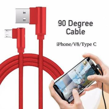 10ft 90°Angle Nylon Braided USB-C Cable Fast Charging Cable