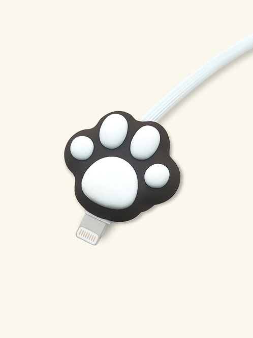 Black Paw Print Shaped Phone Cable Protector