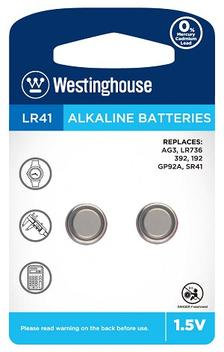 Westinghouse 1.5V alkaline button cell - AG3 2pc blister