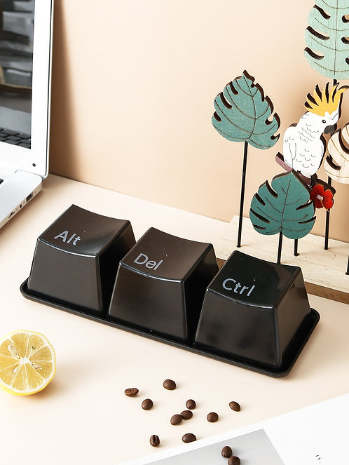 ctrl + alt + delete Key Design Cup & 1pc Saucer Set (3pcs)