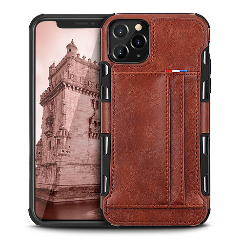 Apple iPhone 11 Pro Durable Shockproof Soft TPU Case Back Leather Card Holder Wa