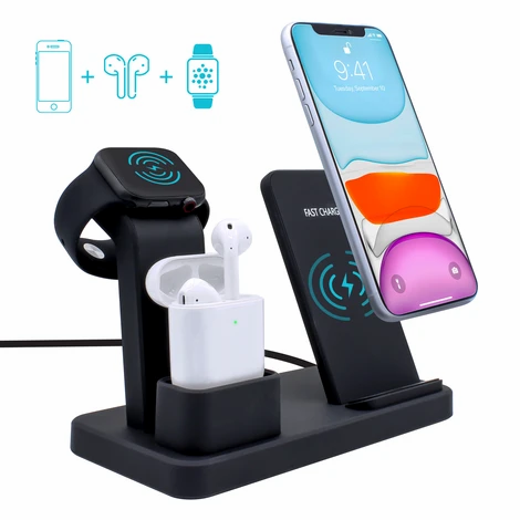 iGear 3-in-1 Wireless Charger for iPhone, Airpods, and iWatch (Stand)