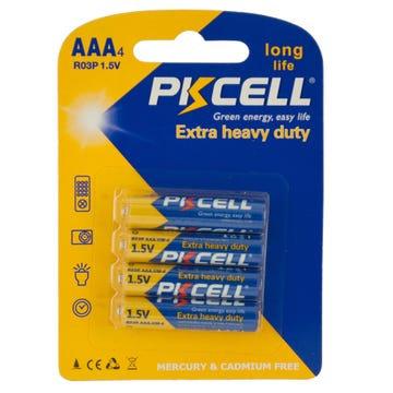 PKCELL Heavy Duty AAA Batteries (4pk)