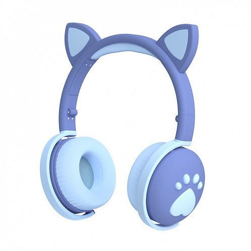 Cat Ear and Paw LED Bluetooth Headphone Headset with Built in Mic, Luminous Ligh