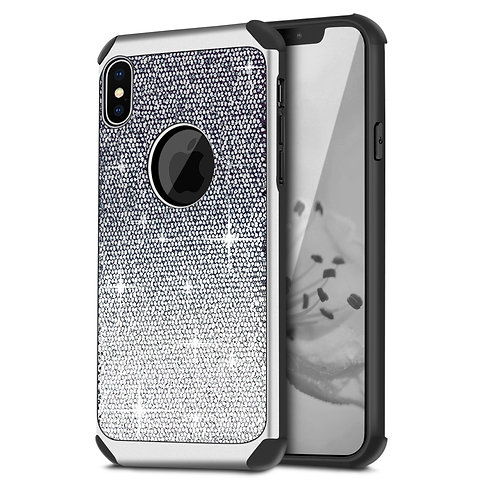 Apple iPhone XS Hybrid Shiny Glitter Shockproof Case