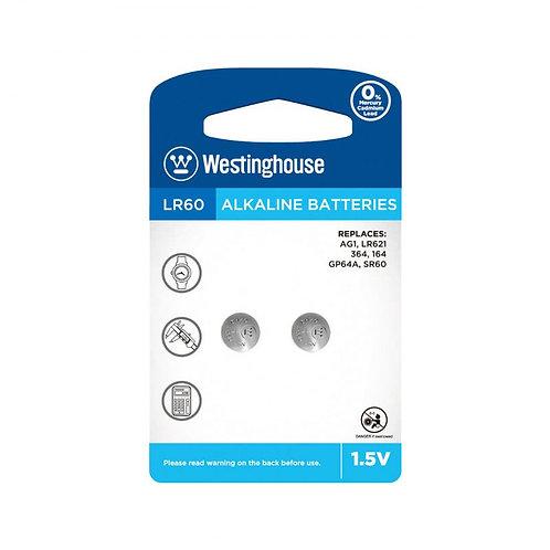 Westinghouse 1.5V alkaline button cell - AG1 2pc blister